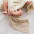 Personalised Luxury Baby Cable Knit Blanket - Cream - LOVINGLY SIGNED INDONESIA