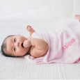 Personalised Soft Cellular Cotton Blanket - Pink - LOVINGLY SIGNED INDONESIA