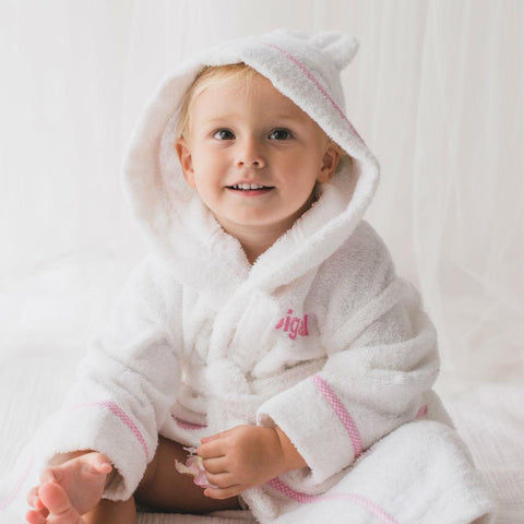 Personalised Luxury Pink Gingham Towelling Robe