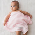 Personalised New Baby Receiving Shawl - Pink - LOVINGLY SIGNED INDONESIA