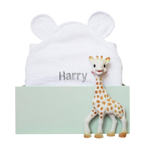 Personalised Sophie The Giraffe Bathtime Set