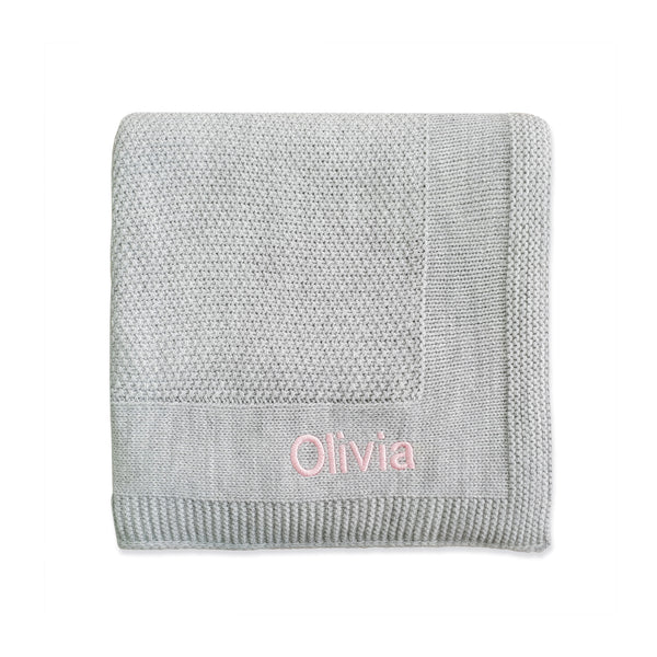 Personalised New Baby Receiving Shawl - Grey - LOVINGLY SIGNED INDONESIA