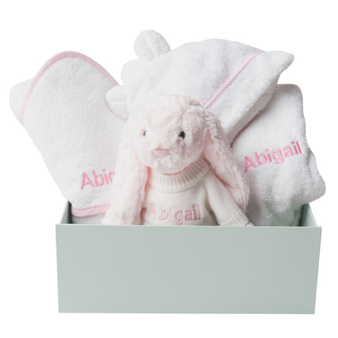 Personalised Bunny Snuggles Baby Bath Set - Pink