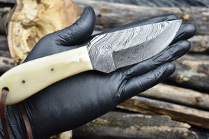 Outdoor Handmade Damascus Steel Fixed Blade Hunting Survival EDC Knife - TBP 214 - The Blade Point