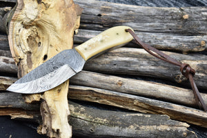 Outdoor Handmade Damascus Steel Fixed Blade Hunting Survival EDC Knife - TBP 214