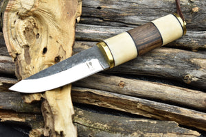 Vintage Finland Puukko Knife High Carbon Steel Fixed Blade Bushcraft Hunting Knife - TBP 220