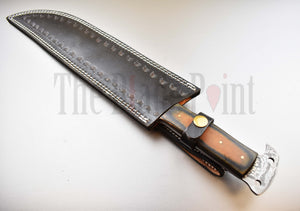 "17"" Handmade Damascus Steel Full Tang Long Bowie Knife - TBP-130"