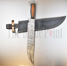 "17"" Custom Handmade Damascus Steel Full Tang Long Bowie Hunting Knife - TBP-130 - The Blade Point"