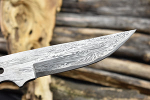 Single Edge Pattern Damascus Steel Blank Blade Full Tang Knife Blank - The Blade Point