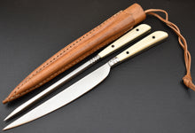 Handmade Medieval Knife and Pricker Set Bone Handle Leather Sheath TBP 151 - The Blade Point