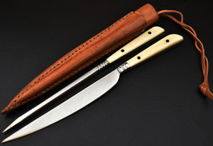 Medieval Knife and Pricker Set Bone Handle Leather Sheath TBP- - The Blade Point