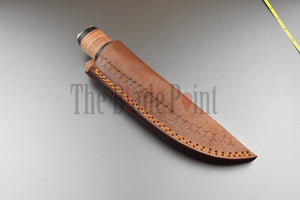 1095 High Carbon Steel Steel Puukko Knife Stacked Leather Handle and Sheath -  TBP-306 - The Blade Point