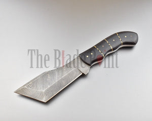Custom Handmade Damascus Steel Hunting Tanto Blade and Sheath - TBP-072 - The Blade Point