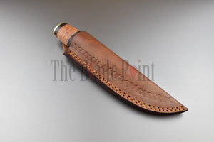 1095 High Carbon Steel Steel Puukko Knife Stacked Leather Handle and Sheath - TBP-307 - The Blade Point