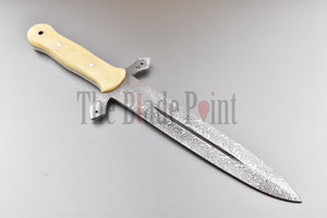 Vintage Full Tang Fixed Blade Dagger Knife Laser Etched Damascus Pattern - The Blade Point