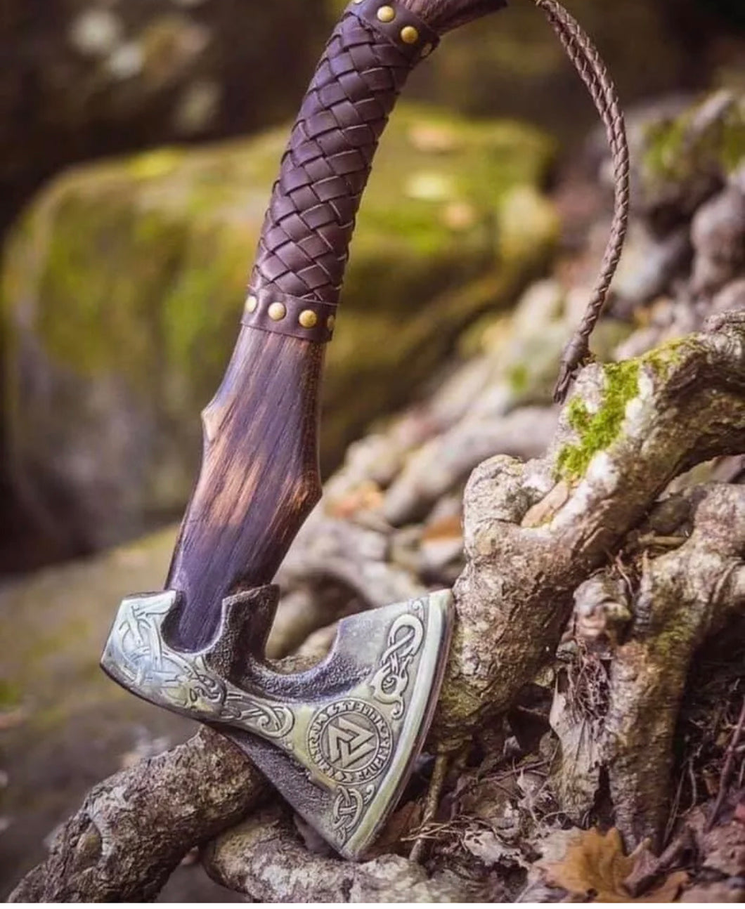 Handmade Carbon Steel Viking Bearded Hatchet Axe Ash wood wrap Leather Handle - The Blade Point