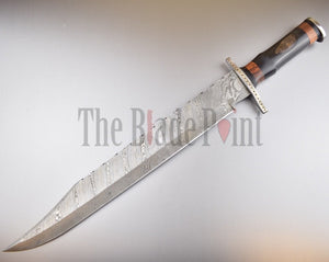 Handmade Damascus Steel Long Bowie Knife with Leather Sheath - TBP-123 - The Blade Point