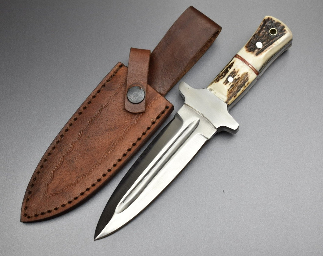 Custom Handmade D2 Steel Dagger Knife and Leather Sheath Full Tang - TBP-127 - The Blade Point