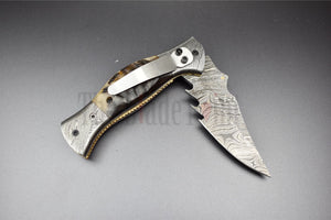 Edc Handmade Damascus Steel Pocket Folding Knife