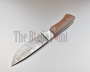 Handmade Damascus Steel Drop Point Hunting Knife and Sheath - TBP-622 - The Blade Point