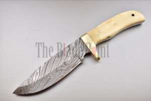Handmade Damascus Steel Fixed Blade Hunter Skinner - Full Tang Knif - The Blade Point