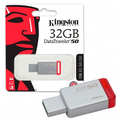 Memoria USB 32Gb Kingston DT50 rojo metal