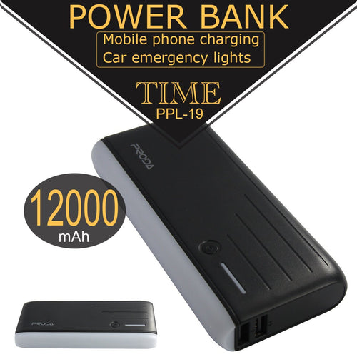 Power bank cargador externo 12,000mAh, 5V 2.1A, Proda