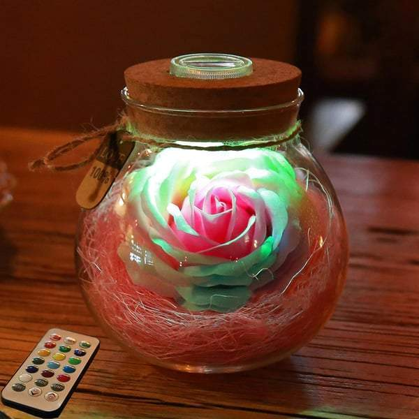 2019 Perfect Gift For Girl / Bloom - LED Rose Bottle Lamp