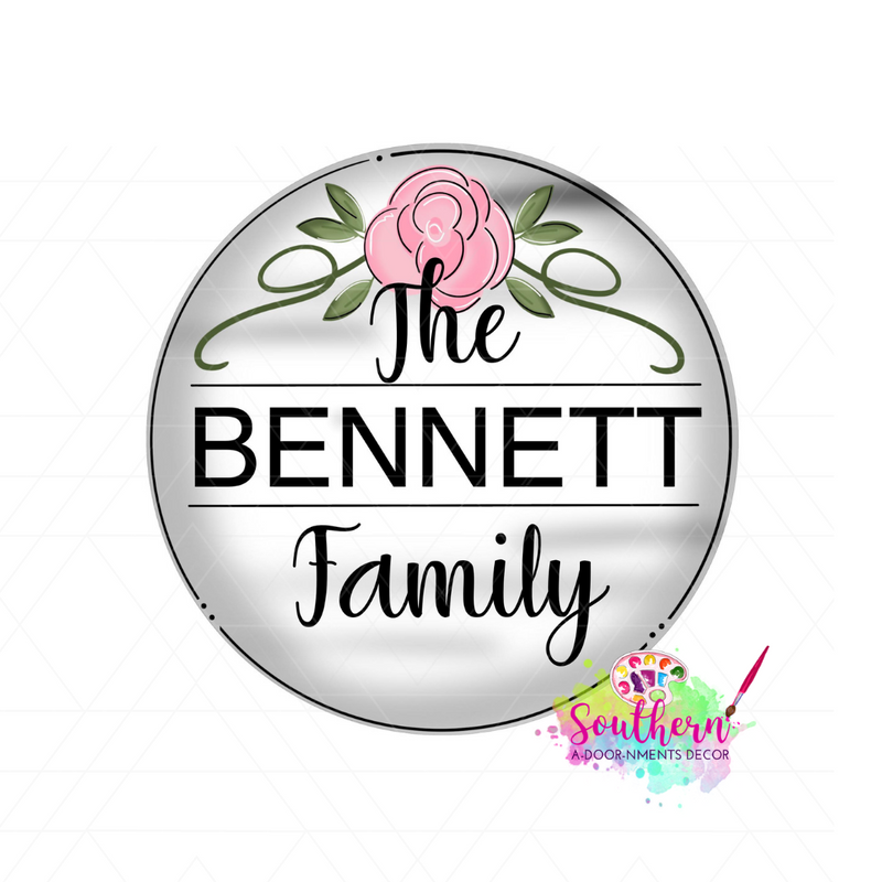 Rose Circle Family Sign Blank