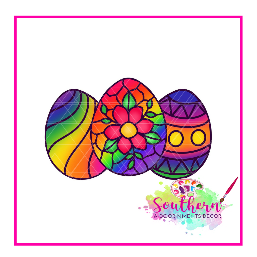 Stained Glass Eggs Template & Digital Cut File