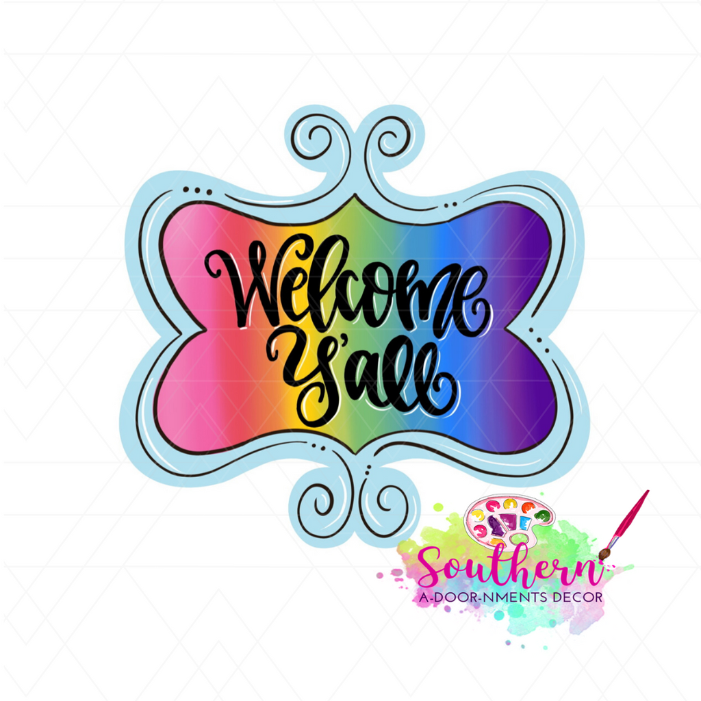 Funky Frame Welcome Y'all Template & Digital Cut File
