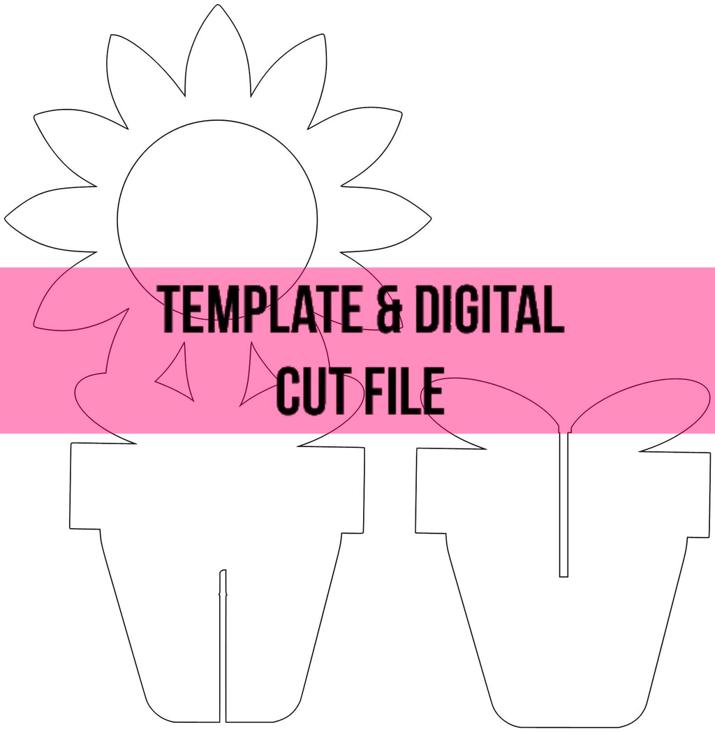 3D Sunflower Pot Template & Digital Cut File