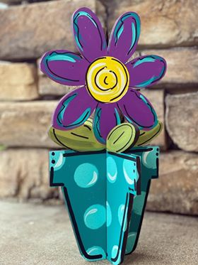 3D Flower Pot Porch Sitter PAINTED