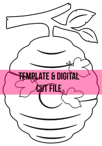 Bee Hive Template & Digital Cut File