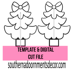 Christmas Tree With Bow Sitter Template & Digital Cut File