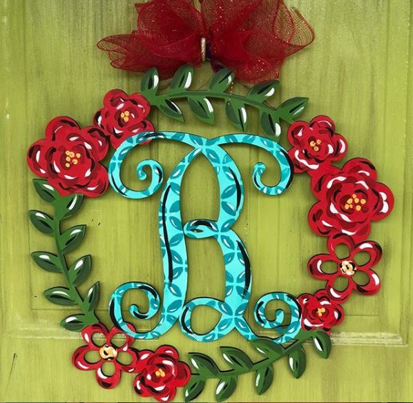 BLANK Floral Wreath Monogram Ornament, Attachment or Door Hanger