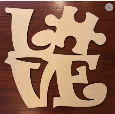 LOVE Autism Wooden Blank