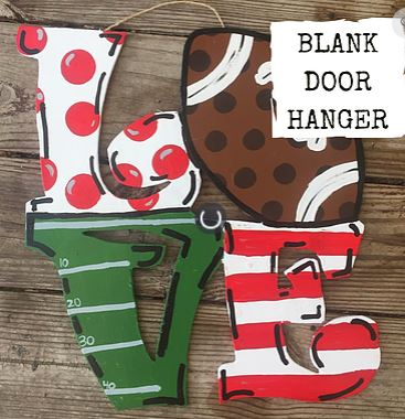 BLANK LOVE Football Ornament, Attachment or Door Hanger
