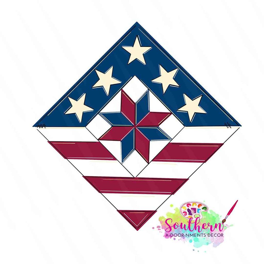 Patriotic Quilter's Square Wooden Blank