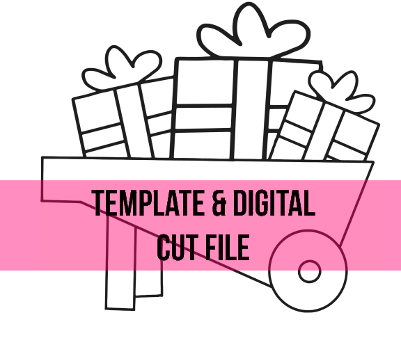 Christmas Wheelbarrow Ornament Template & Digital Cut File