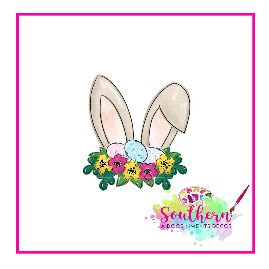Rabbit Ears with Floral Egg Crown Template & Digital Cut File