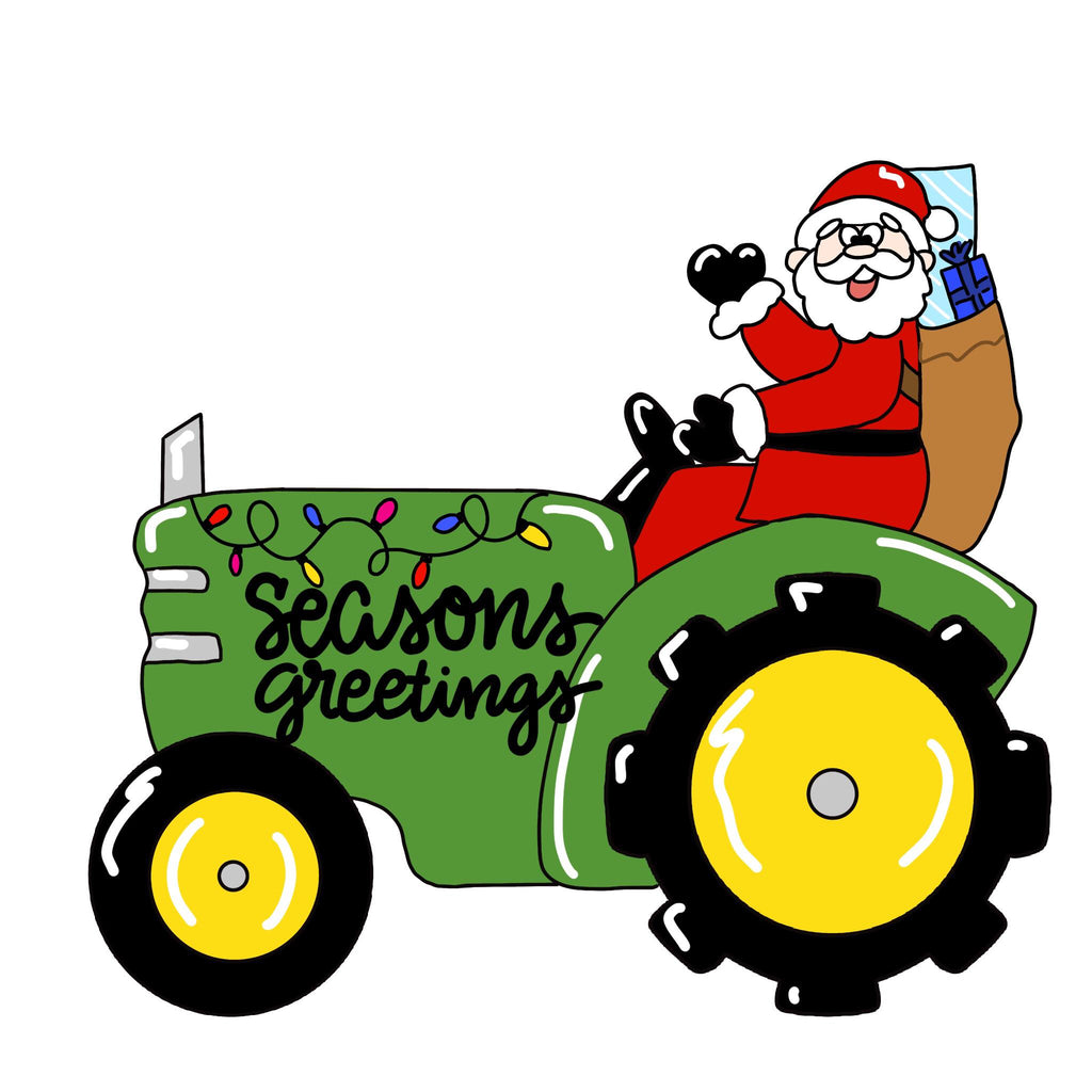 BLANK Santa on a tractor Ornament, Attachment or Door Hanger