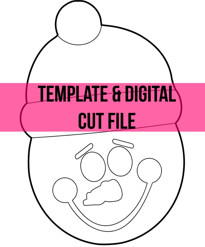 Snowman with Beanie Template & Digital Cut File
