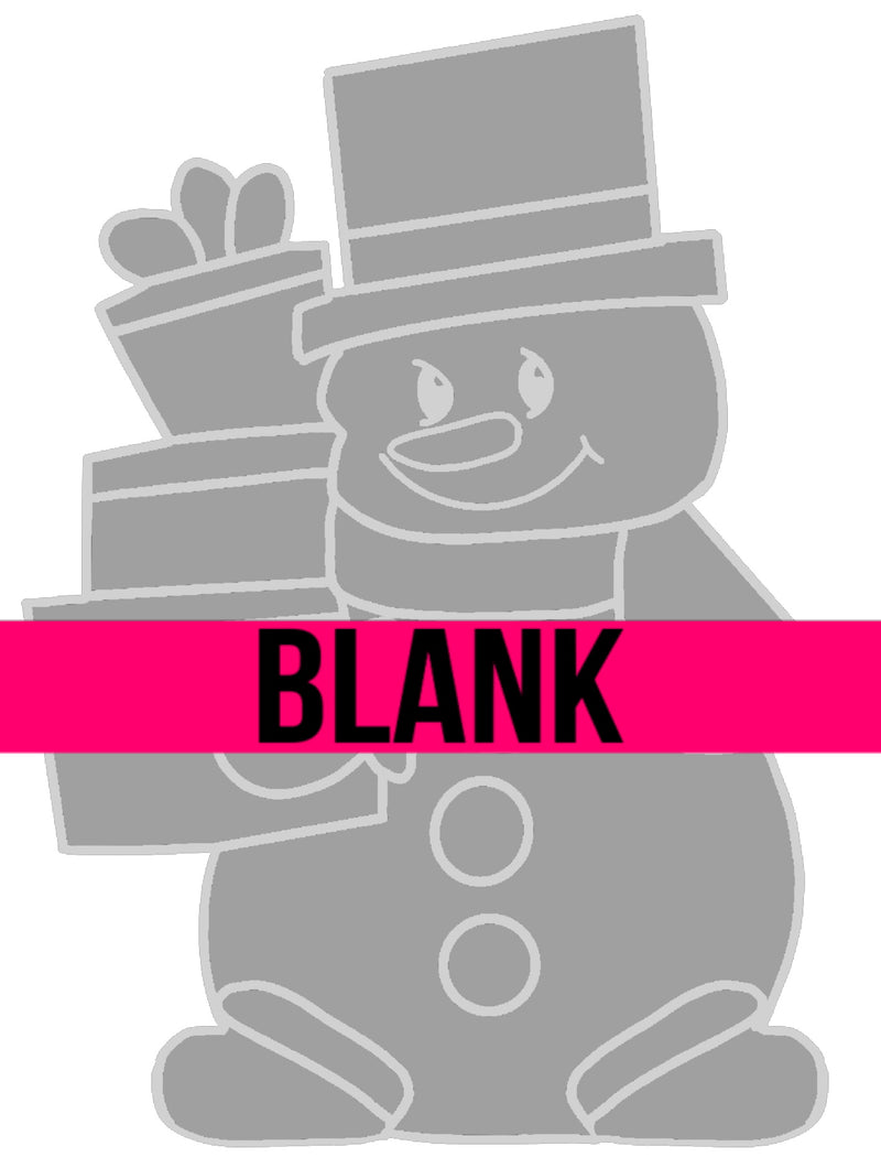 BLANK Snowman with Presents Ornament, Attachment or Door Hanger