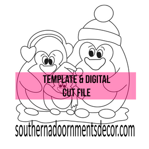 Snowy Penguins Ornament Template & Digital Cut File