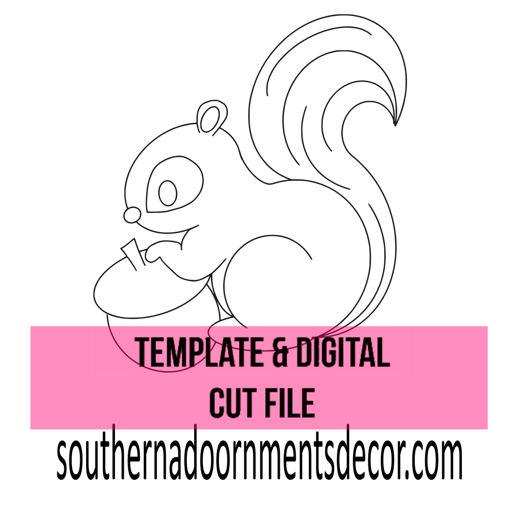 Squirrel with Acorn Template & Digital Cut File
