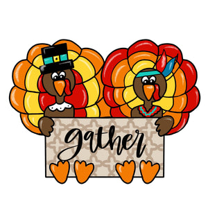Turkey's with Sign Template & Digital Cut File