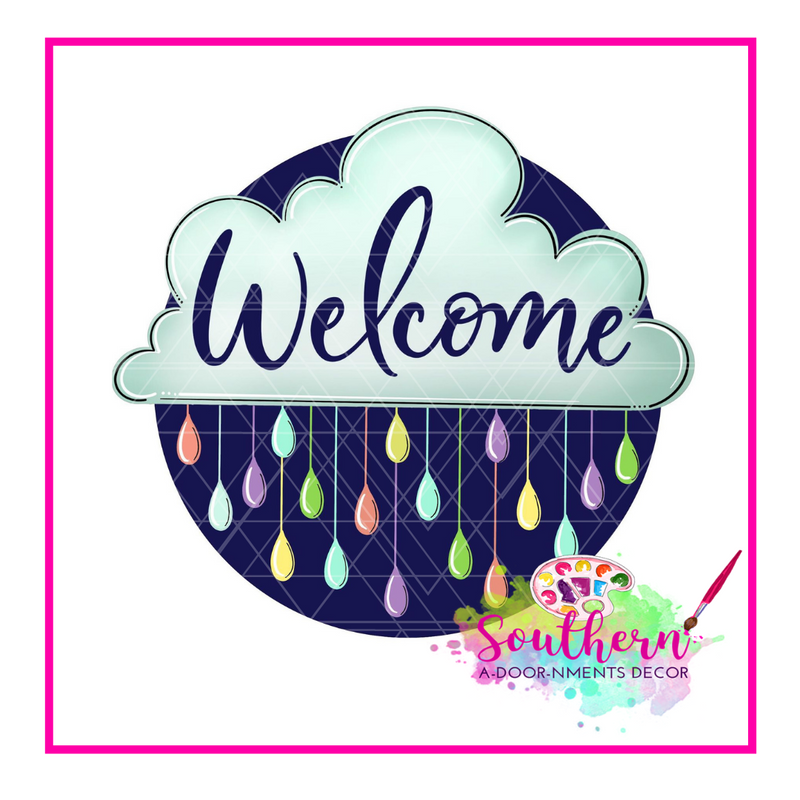 Welcome Cloud Template & Digital Cut File