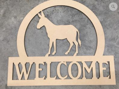 BLANK Welcome Mule Ornament, Attachment or Door Hanger