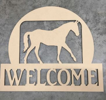 BLANK Welcome Horse Ornament, Attachment or Door Hanger